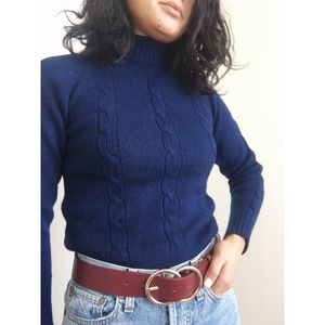 Vintage Wool Mock Neck Cable Sweater - Navy